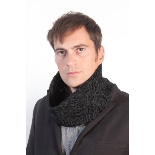 moda di lusso pacchetto elegante e robusto negozio ufficiale Scaldacollo pelliccia uomo in persiano karakul nero